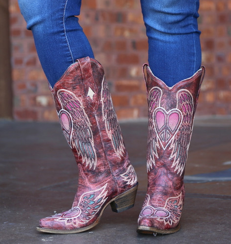 Corral Red Wings and Heart Inlay Boots A3409 Front