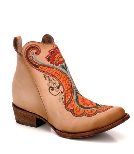 Corral Natural Orange Embroidery Ankle Boot C3269 Picture