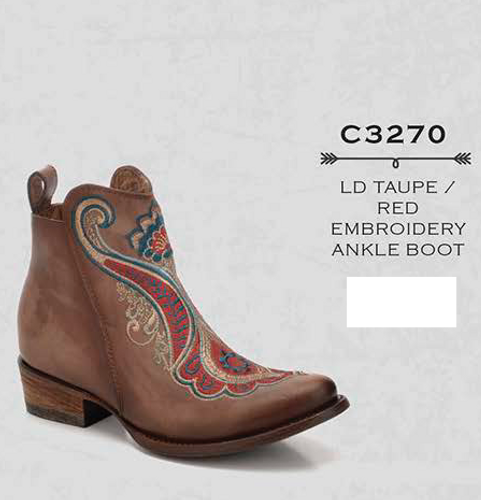 Corral Taupe Red Embroidery Ankle Boot C3270 Picture