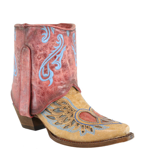 Corral Sand Flipped Shaft Wing and Heart Jute Rug Ankle Boot A3462 Photo