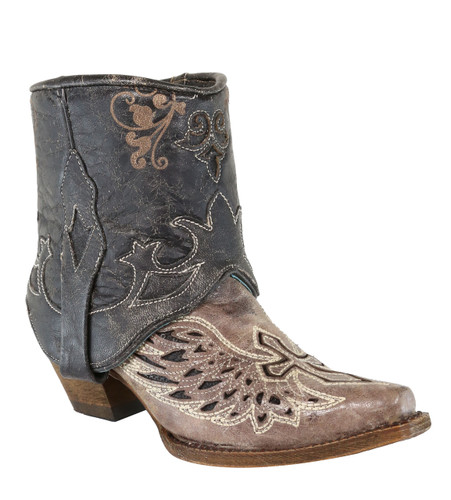 Corral Tobacco Flipped Shaft Wing and Cross Jute Rug Ankle Boot A3459