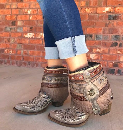 Corral Tobacco Flipped Shaft Wing and Cross Jute Rug Ankle Boot A3459 Image