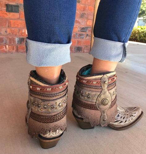 Corral Tobacco Flipped Shaft Wing and Cross Jute Rug Ankle Boot A3459 Heel