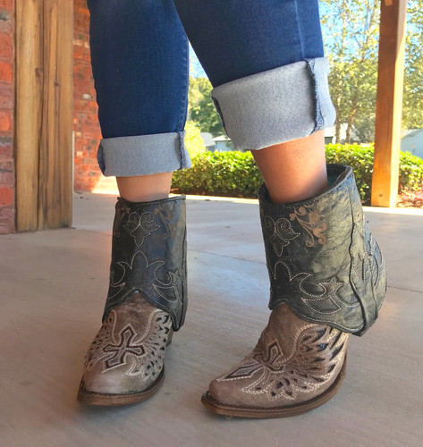 Corral Tobacco Flipped Shaft Wing and Cross Jute Rug Ankle Boot A3459 Side