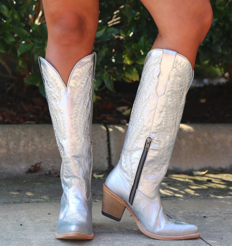 Corral Silver Embroidery Tall Top Boots E1321 Toe