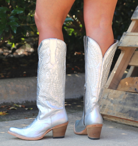 Corral Silver Embroidery Tall Top Boots E1321 Heel