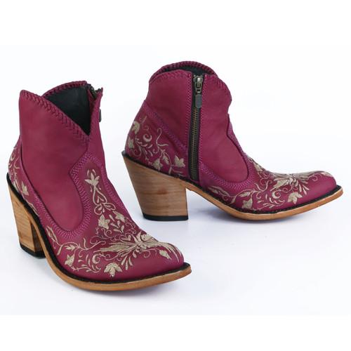 Liberty Black Valerie Short Embroidery Bordeaux Boots LB712324 Picture