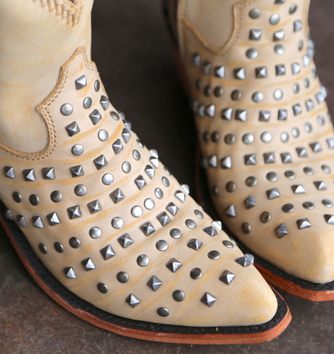 Liberty Black Fiona Short Studded Zipper Beige Boots LB71301 Details