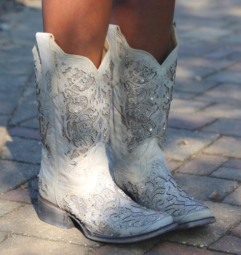 Corral White Glitter Inlay and Crystals Square Toe Boots A3397 Image
