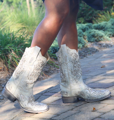 Corral White Glitter Inlay and Crystals Square Toe Boots A3397 Walk