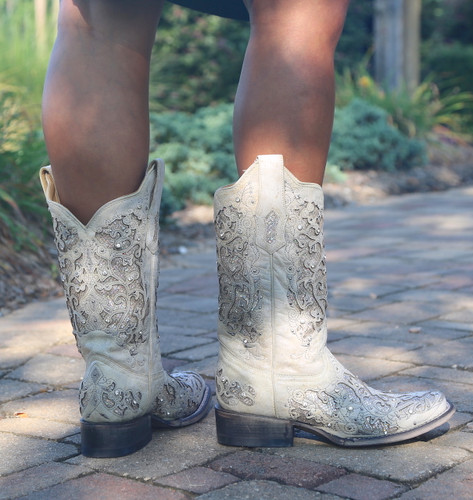 Corral White Glitter Inlay and Crystals Square Toe Boots A3397 Heel