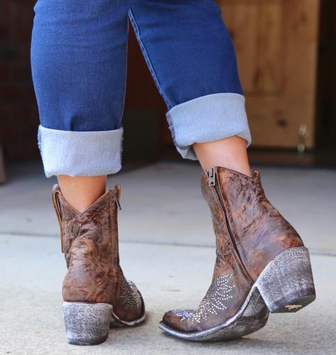 Old Gringo Eagle Crystal Zipper Boots L859-2 Heel