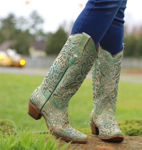 Corral Blue Glitter Inlay and Embroidery Boots A3353 Toe
