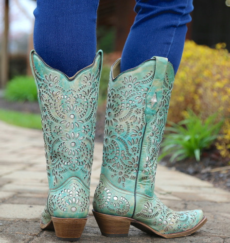 Corral Blue Glitter Inlay and Embroidery Boots A3353 Heel