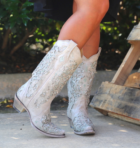 Corral Green Glitter Inlay and Crystals Boots A3321 Image