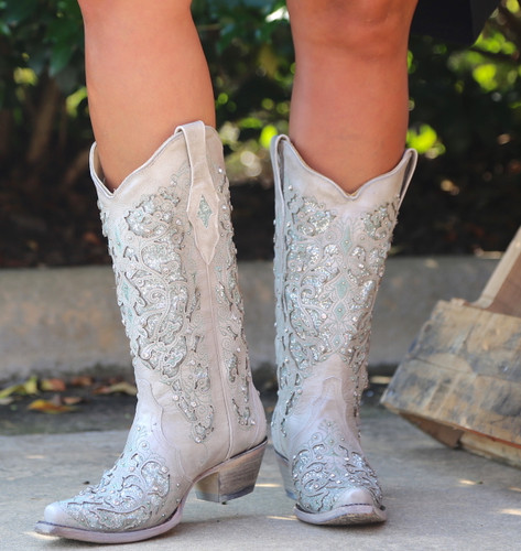 Corral Green Glitter Inlay and Crystals Boots A3321 Front
