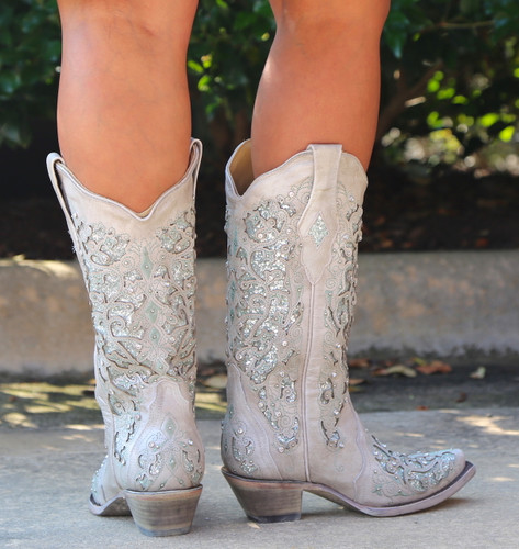 Corral Green Glitter Inlay and Crystals Boots A3321 Heel