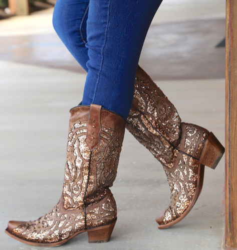 Corral Orix Glittered Inlay and Studs Snip Toe Boots C3331 Side