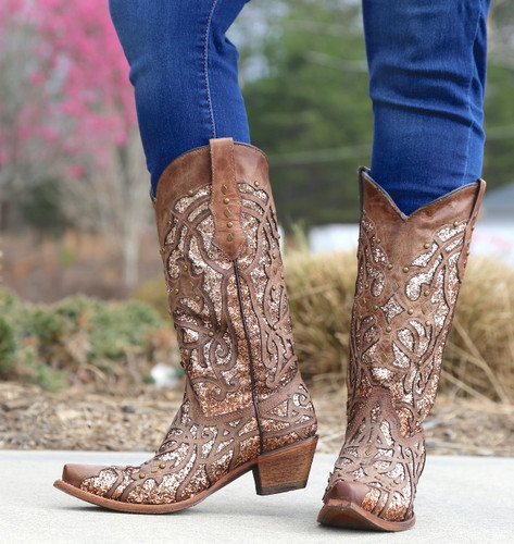 Corral Orix Glittered Inlay and Studs Snip Toe Boots C3331 Front