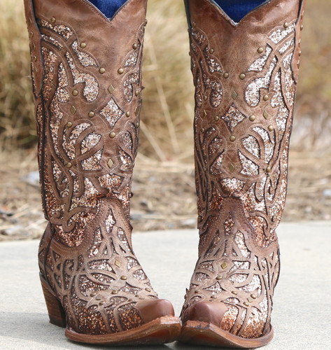 Corral Orix Glittered Inlay and Studs Snip Toe Boots C3331 Image