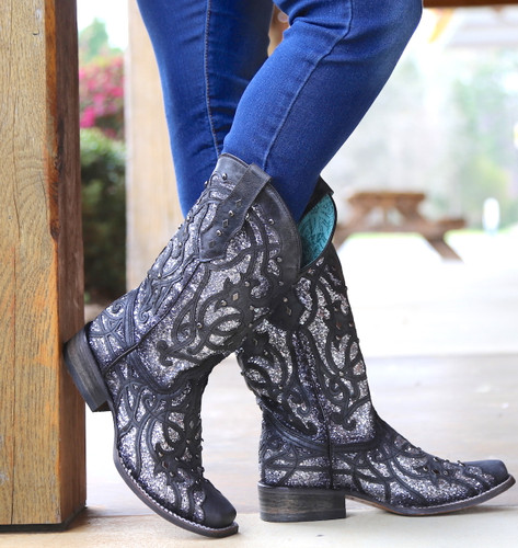 Corral Black Glittered Inlay and Studs Square Toe Boots C3265 Toe