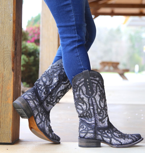 Corral Black Glittered Inlay and Studs Square Toe Boots C3265 Side