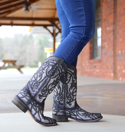 Corral Black Glittered Inlay and Studs Square Toe Boots C3265 Walk
