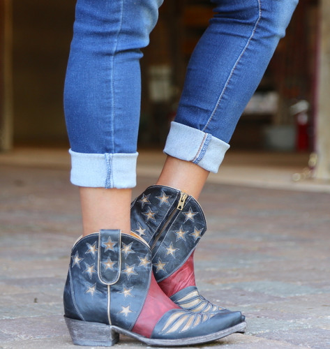 Old Gringo United Short Blue Boots BL2976-1 Zipper