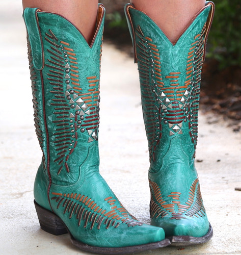 Old Gringo Harper Turquoise Boots L2971-3 Detail
