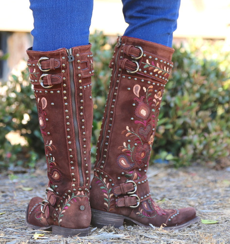 Double D by Old Gringo Travelers & Traders Brunette Boots DDL032-1 Zipper