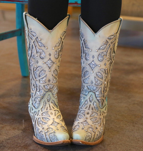 Corral White Turquoise Glitter Chameleon Boot C3377 Indoor Photo Front