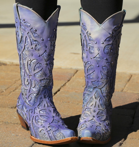 Corral White Turquoise Glitter Chameleon Boot C3377 Outdoor Photo Front