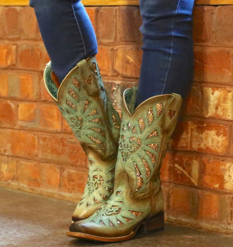 Corral Mint Glittered Inlay and Studs Square Toe Boots C3262 Image