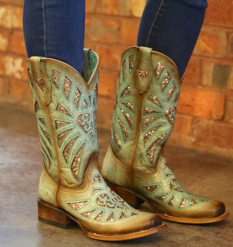 Corral Mint Glittered Inlay and Studs Square Toe Boots C3262