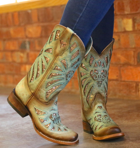 Corral Mint Glittered Inlay and Studs Square Toe Boots C3262 Toe