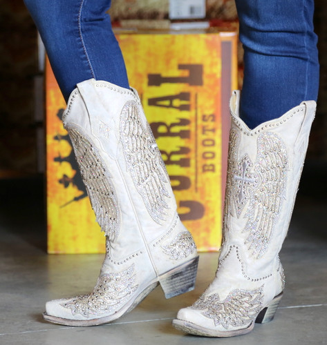 Corral Glitter Cross and Wings White Boots A3571 Side