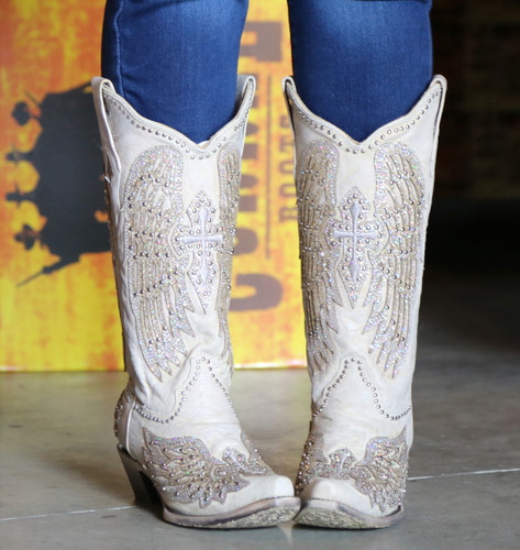 Corral Glitter Cross and Wings White Boots A3571 Image
