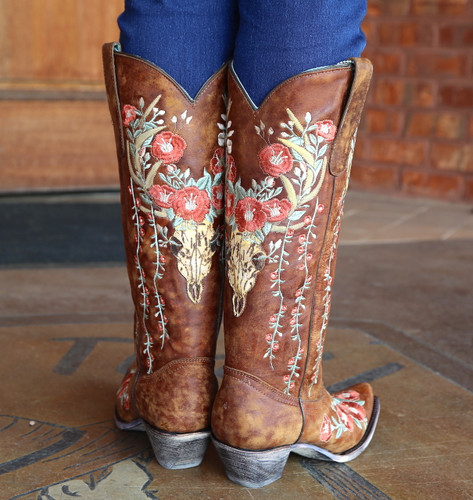 Corral Tan Deer Skull and Floral Embroidery Boots A3620 Heel