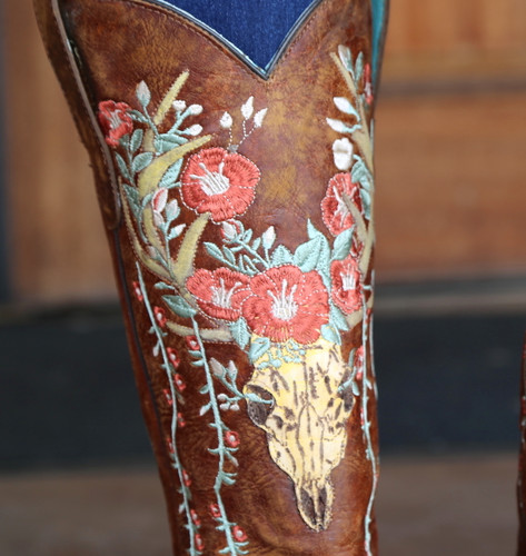 Corral Tan Deer Skull and Floral Embroidery Boots A3620 Detail