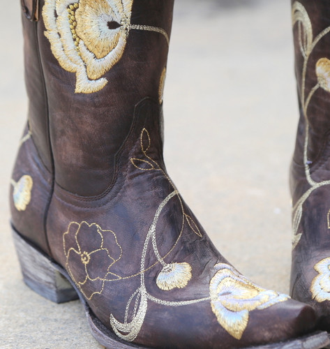 Old Gringo Marsha Chocolate Gold Boots L427-45 Detail