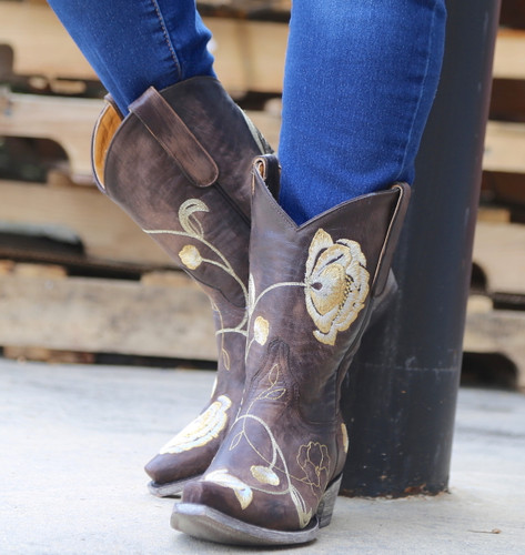 Old Gringo Marsha Chocolate Gold Boots L427-45 Front