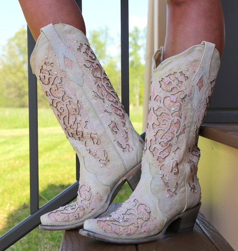 Corral White Pink Glitter Inlay and Crystals Boots A3587 Picture