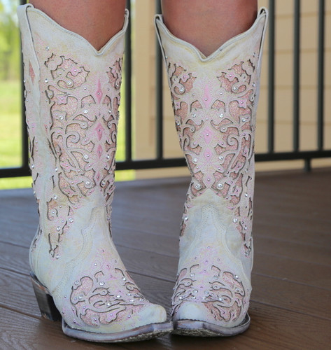 Corral White Pink Glitter Inlay and Crystals Boots A3587 Image