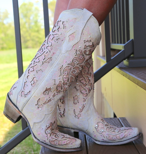 Corral White Pink Glitter Inlay and Crystals Boots A3587 Side