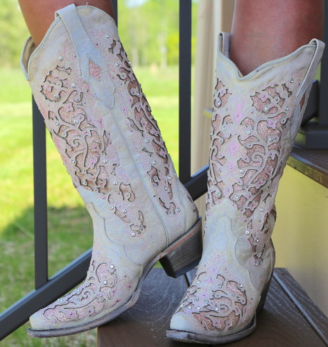 Corral White Pink Glitter Inlay and Crystals Boots A3587 Photo