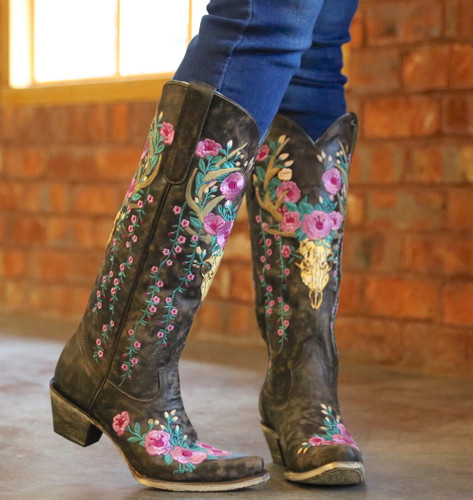 Corral Brown Deer Skull and Floral Embroidery Boots A3621 Image