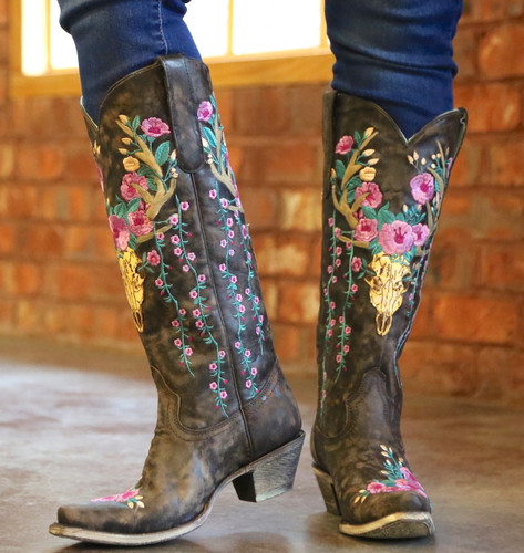 Corral Brown Deer Skull and Floral Embroidery Boots A3621 Picture