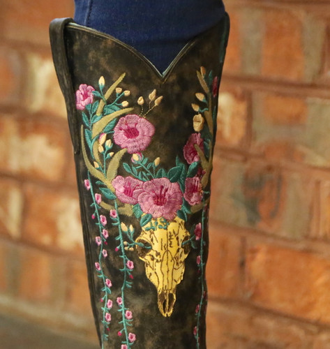 Corral Brown Deer Skull and Floral Embroidery Boots A3621 Detail
