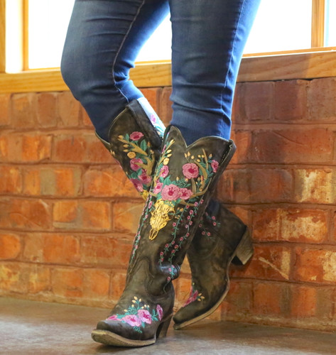 Corral Brown Deer Skull and Floral Embroidery Boots A3621 Photo