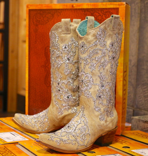 Corral Bone Glitter Overlay Embroidery and Crystals Boots C3356 Picture